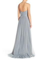 Monique Lhuillier Bridesmaids Pleat Tulle Strapless Gown
