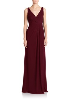 Monique Lhuillier Bridesmaids Pleated Chiffon V-Neck Gown