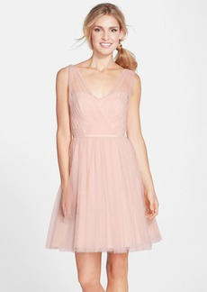 Monique Lhuillier Bridesmaids Tulle Overlay Lace Fit & Flare Dress