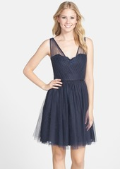 Monique Lhuillier Bridesmaids Tulle Overlay Lace Fit & Flare Dress