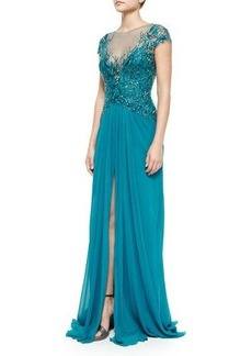 Monique Lhuillier Cap-Sleeve Embroidered Gown