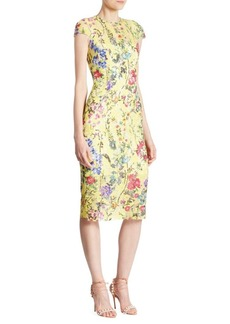 Monique Lhuillier Cap Sleeve Sheath Dress