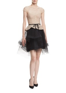 Monique Lhuillier Cap-Sleeve Tulle Dot Cocktail Dress