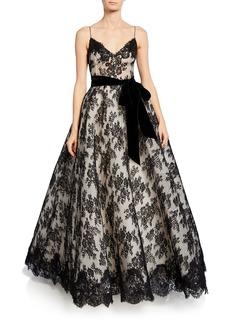 Monique Lhuillier Chantilly Lace Bowed Gown