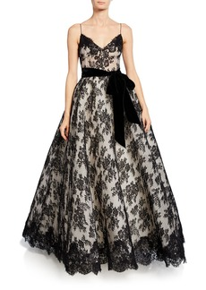 Monique Lhuillier Chantilly Lace Bowed Gown