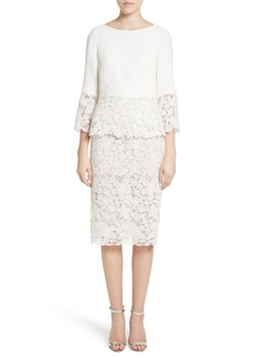 Monique Lhuillier Crepe & Lace Top & Pencil Skirt