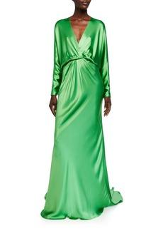 Monique Lhuillier Crepe-Back Satin Draped Dolman Sleeve Gown
