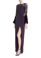 Monique Lhuillier Crepe Lace-Yoke Gown with Velvet Bell Sleeves
