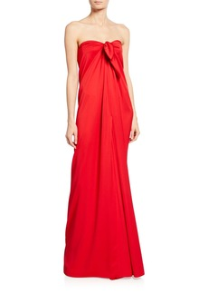 Monique Lhuillier Crepe Satin Strapless Tie Gown