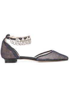 Monique Lhuillier crystal embellished flats - Black