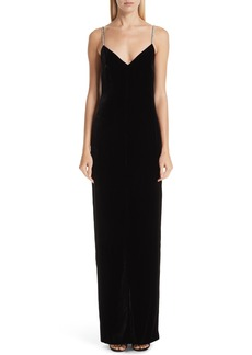 Monique Lhuillier Crystal Strap Velvet Column Gown