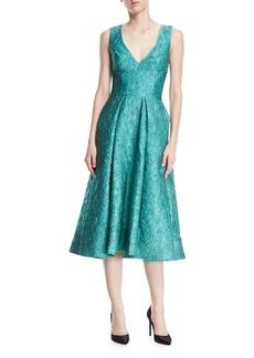 Monique Lhuillier Deep-V Floral-Jacquard Structured Midi Cocktail Dress
