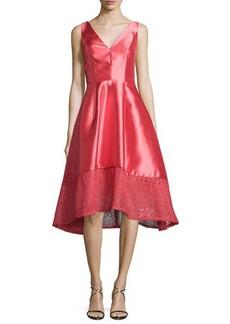 Monique Lhuillier Deep V High-Low Cocktail Dress