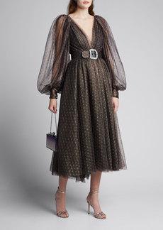 Monique Lhuillier Dotted Lace Deep-V Dress
