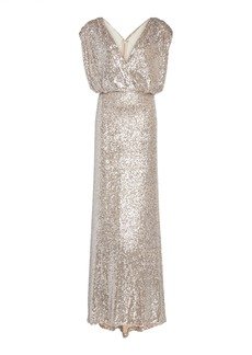 Monique Lhuillier Draped Sequined Silk-Charmeuse Gown