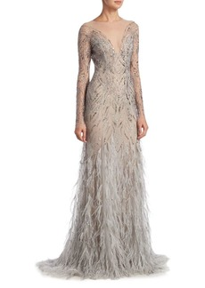 Monique Lhuillier Embellished Illusion Gown