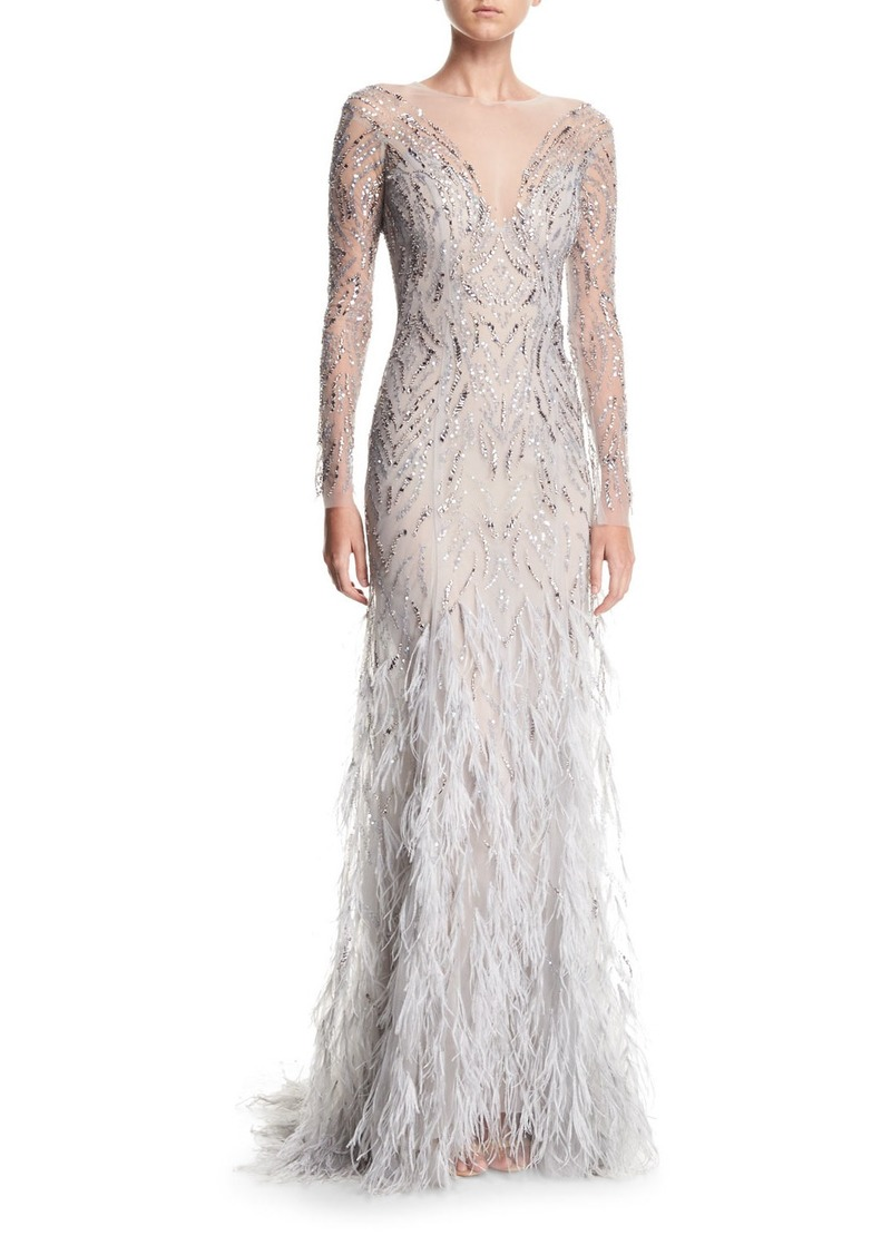 Monique Lhuillier Embellished Long-Sleeve Illusion Evening Gown with ...