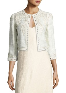 Monique Lhuillier Embroidered Boucle Cropped Jacket
