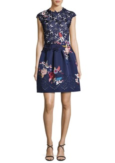 Monique Lhuillier Embroidered Floral Lace Fit & Flare Dress