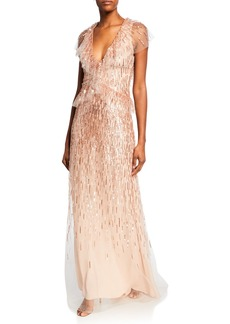 Monique Lhuillier Embroidered Fluter-Sleeve Gown