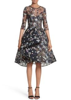 Monique Lhuillier Embroidered Lace Party Dress
