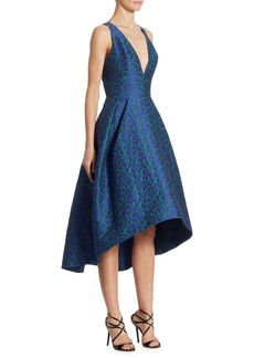 Monique Lhuillier Embroidered Lace X-Back Hi-Lo Dress