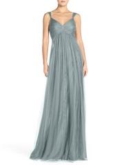 Monique Lhuillier Empire Waist Tulle Twist Front Gown