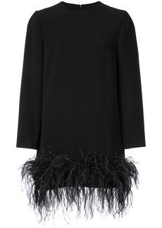 Monique Lhuillier feather embellished longsleeved shirt - Black