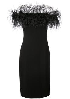 Monique Lhuillier feather embellished off-shoulder dress - Black