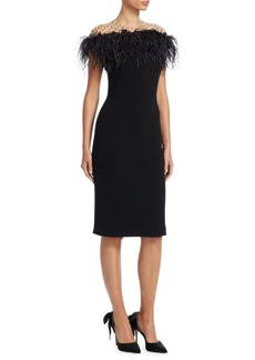 Monique Lhuillier Feather Sheath Dress