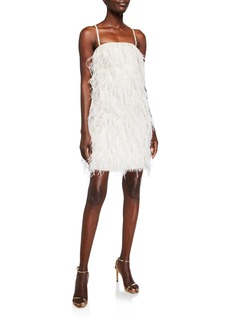 Monique Lhuillier Feathered Mini Shift Dress