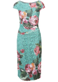 Monique Lhuillier fitted floral lace dress - Green