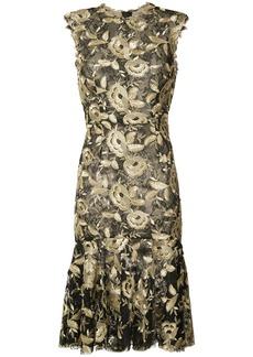 Monique Lhuillier flared hem floral dress - Black