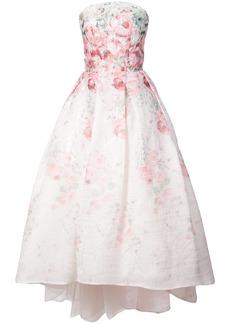 Monique Lhuillier flared strapless floral print dress - White