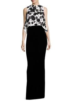 Monique Lhuillier Floral-Embellished Popover Column Gown