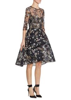 Monique Lhuillier Floral Embroidered Illusion Dress