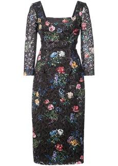 Monique Lhuillier floral embroidered square neck dress - Black