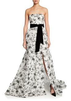 Monique Lhuillier Floral Gazar Strapless Gown