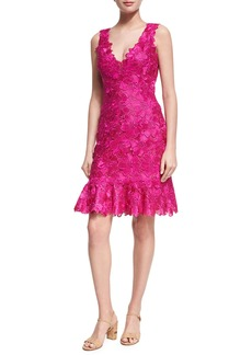 Monique Lhuillier Floral Guipure Lace Sleeveless Flounce Dress