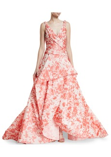 Monique Lhuillier Floral Ikat Taffeta Draped Bodice Evening Ball Gown