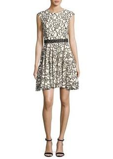 Monique Lhuillier Floral Lace Cap-Sleeve Dress
