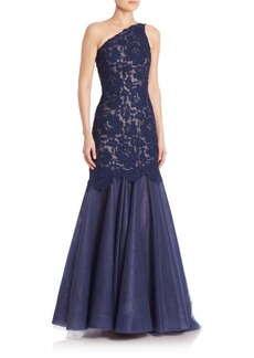 Monique Lhuillier Floral Lace Mermaid Dress