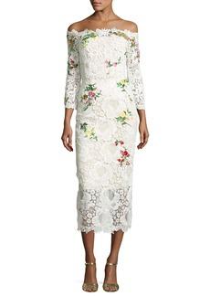 Monique Lhuillier Floral Lace Off-the-Shoulder Midi Dress