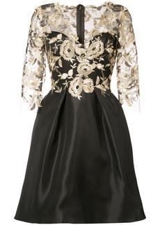 Monique Lhuillier floral overlay dress - Black