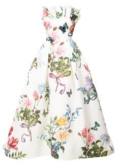 Monique Lhuillier floral print flared dress - White