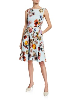 Monique Lhuillier Floral-Print Jacquard Cocktail Dress