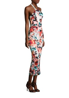 Monique Lhuillier Floral Print Midi Dress