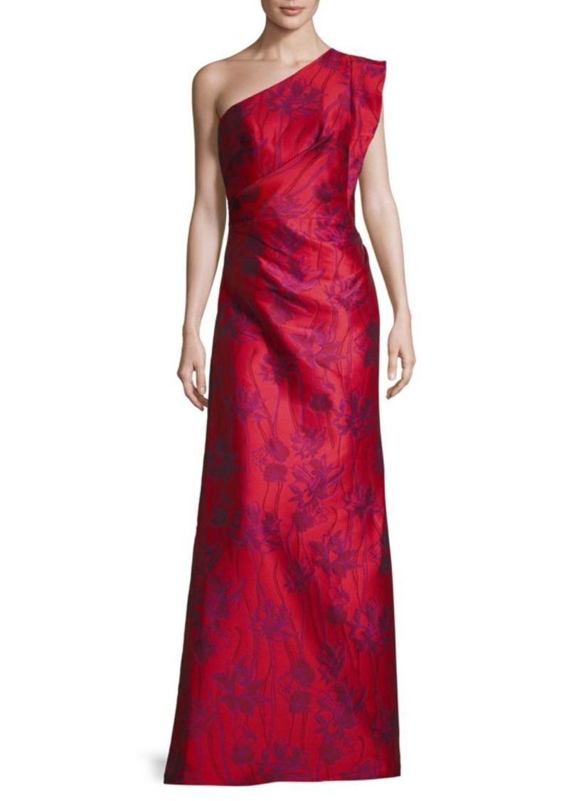 6eaa8c40 ML Monique Lhuillier Floral-Print One-Shoulder Gown