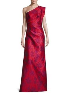 Monique Lhuillier Floral-Print One-Shoulder Gown