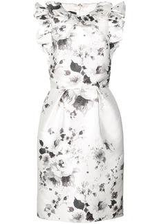 Monique Lhuillier floral print ruffle dress - White